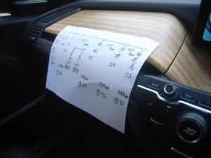 レンジエキステンダーを上手に使うコツは、事前に走行プランを練っておくこと。今回は紙に書いて助手席の前に貼って走った。Pマークの数値が高速道路のキロポスト表示だ。